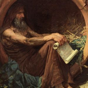 Diógenes (Waterhouse, 1882, detalle)