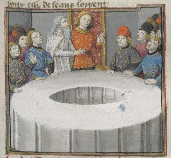 Sir Galahad sits in the Siege Perilous at the Round Table -king-arthur-illuminated-manuscript