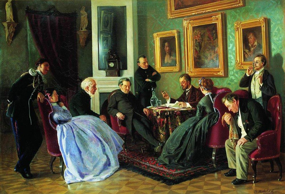 Literary reading, 1866, Vladimir Makovsky