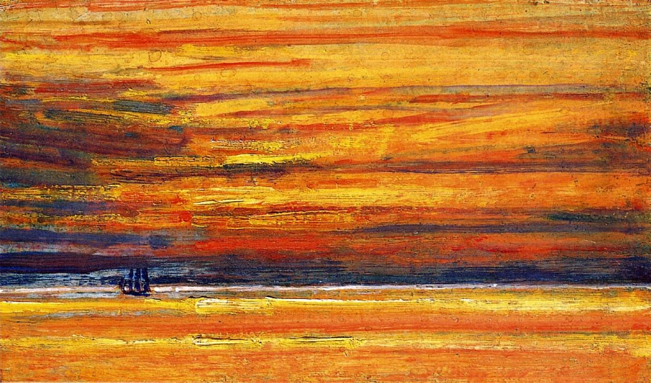 Sailing Vessel at Sea, Sunset, 1904 - Childe Hassam